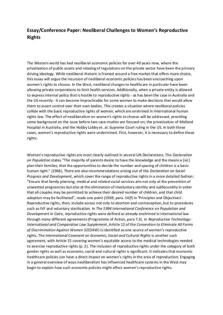 reproductive rights and neoliberalism essay