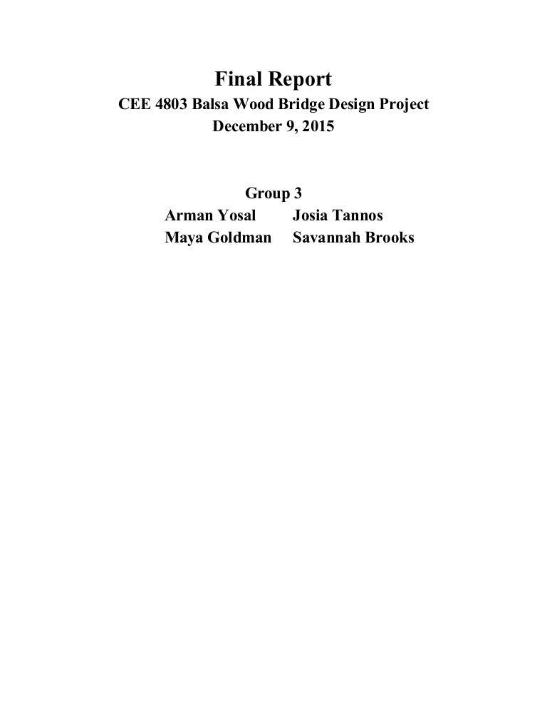 Final Report Balsa Wood Bridge Design