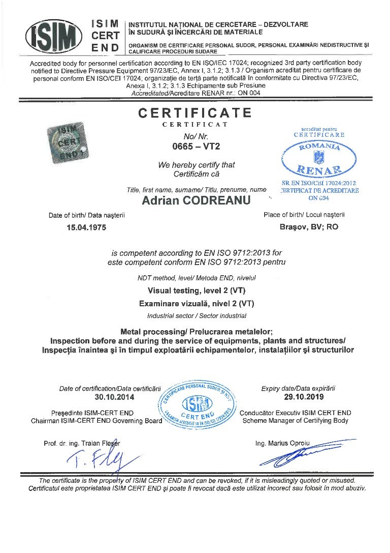 Certificate ndt vt2 1betcityfo Images