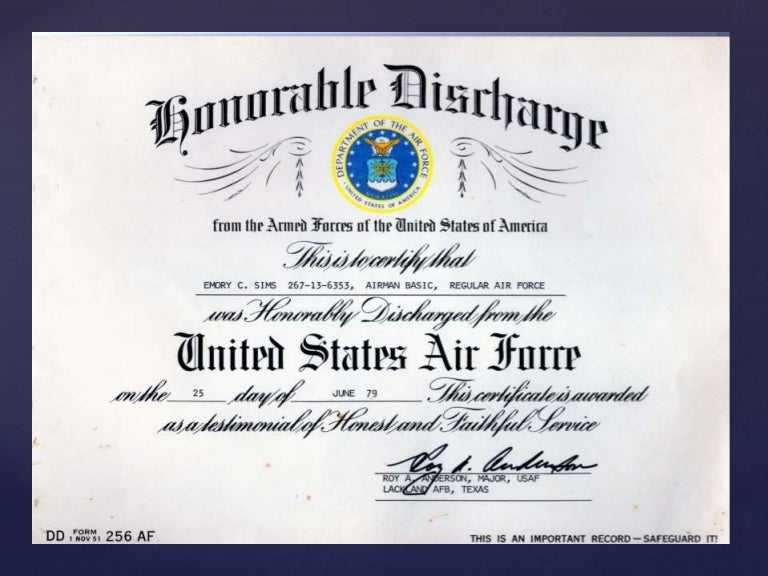 Honorable Discharge And Form Dd