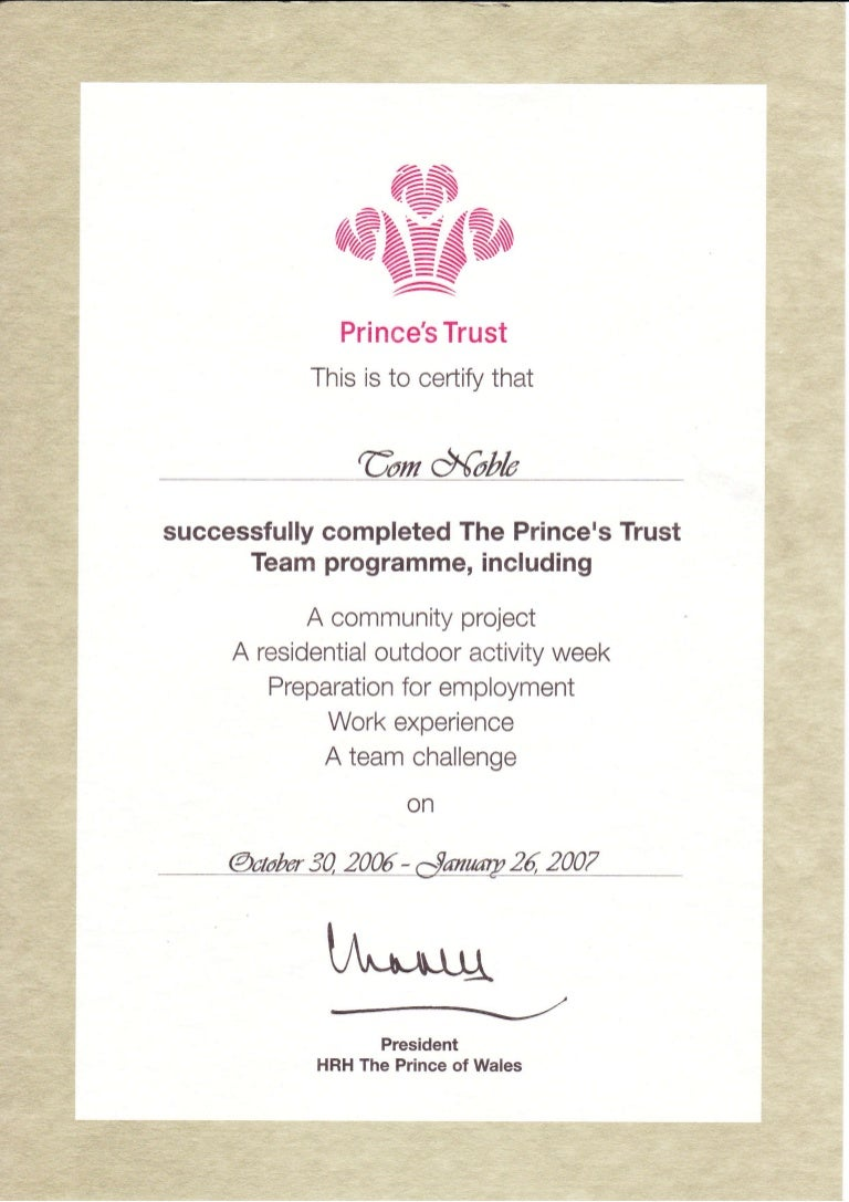 Trust certificate princes trust certificate 1betcityfo Images