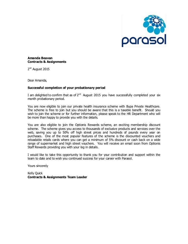 Probation Completion Letter Sample