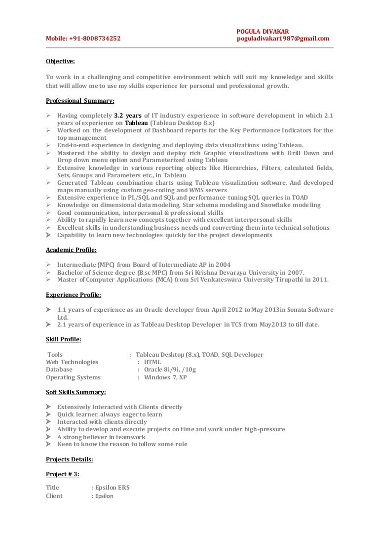 resume tableau resume tableau resume - Tableau Developer Resume