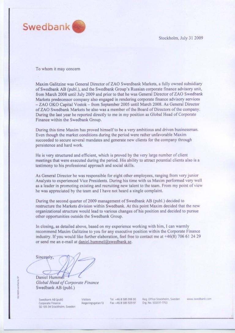 Reference letter swedbank aljukfo Image collections