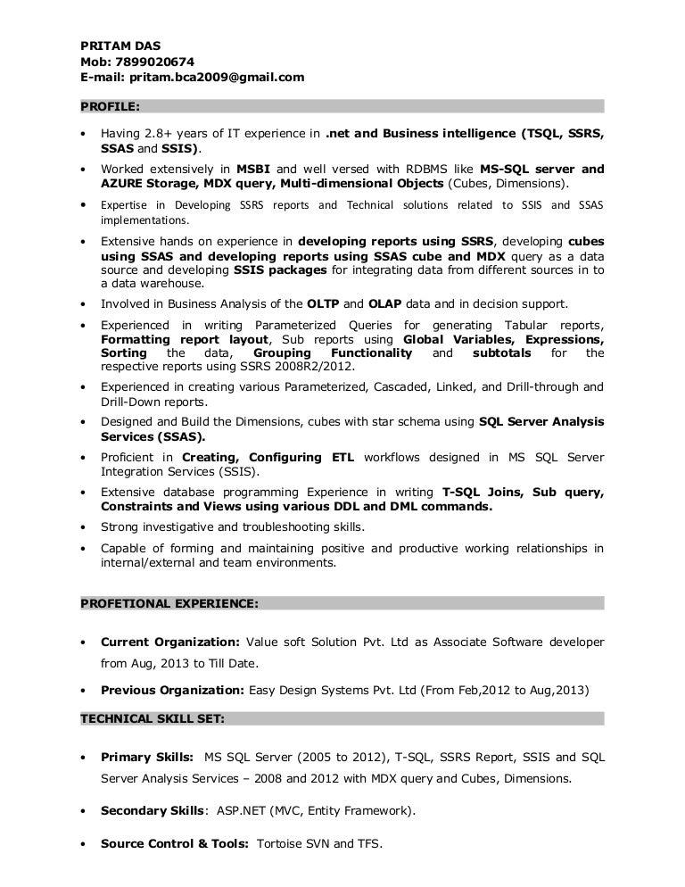 Resume Of Pritam Das