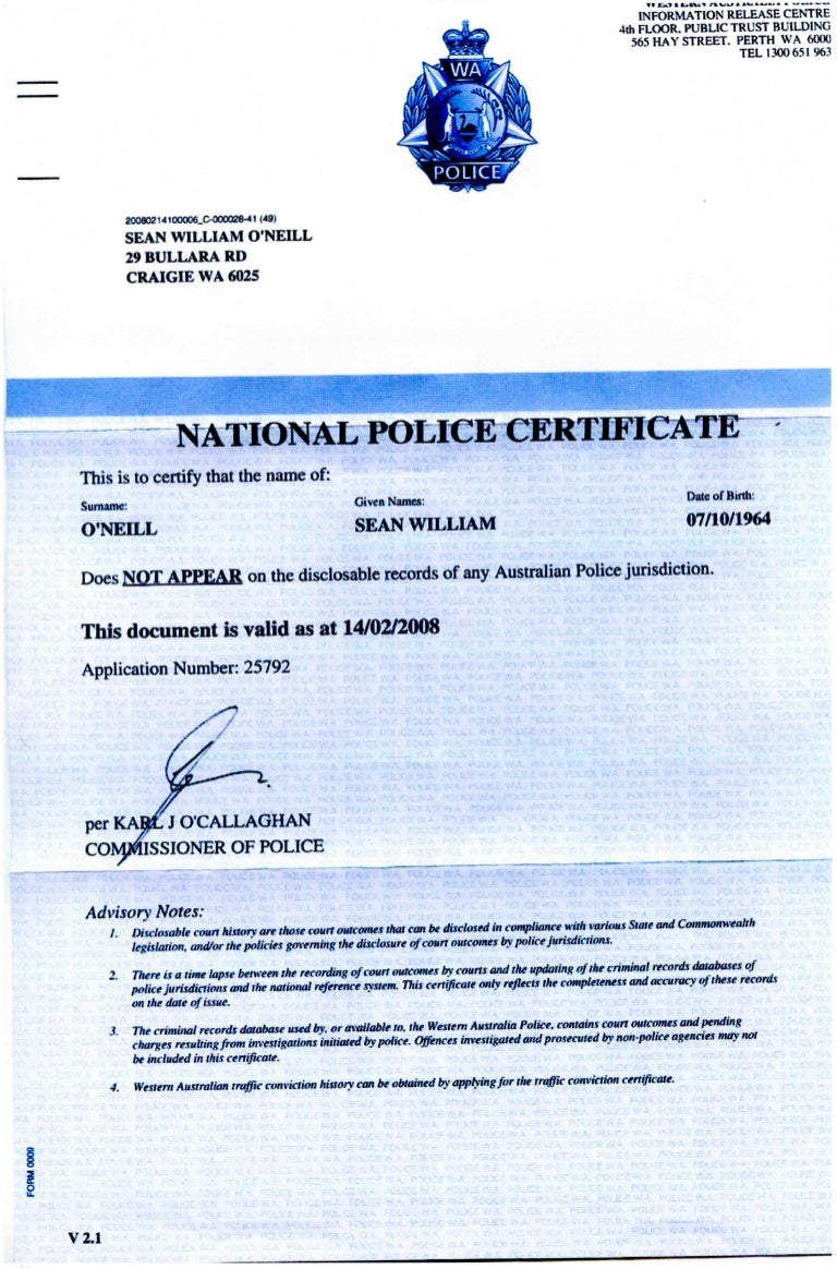 National police certificate 2008 1betcityfo Choice Image