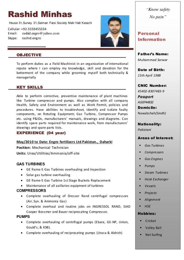 resume for mechanical technician
