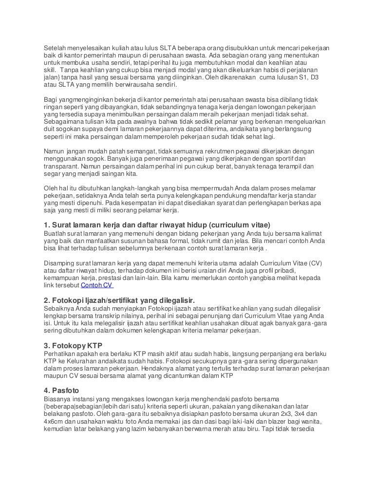 7 Hal Ini Dibutuhkan Untuk Kelengkapan Syarat Melamar Kerja