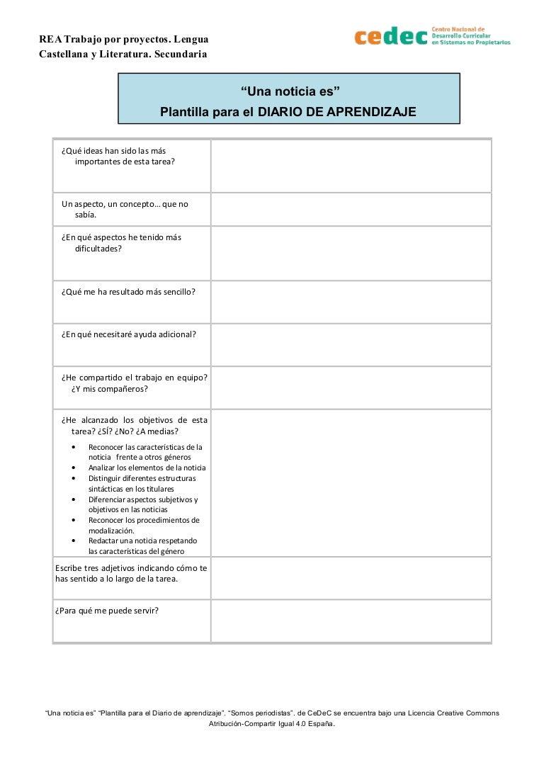 Plantilla Diario De Aprendizaje Una Noticia Es