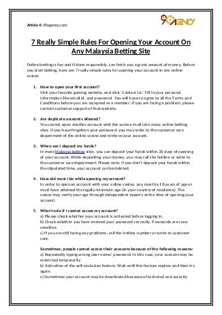 7 Really Simple Rules For Opening Your Account On Any Malaysia Betting Site