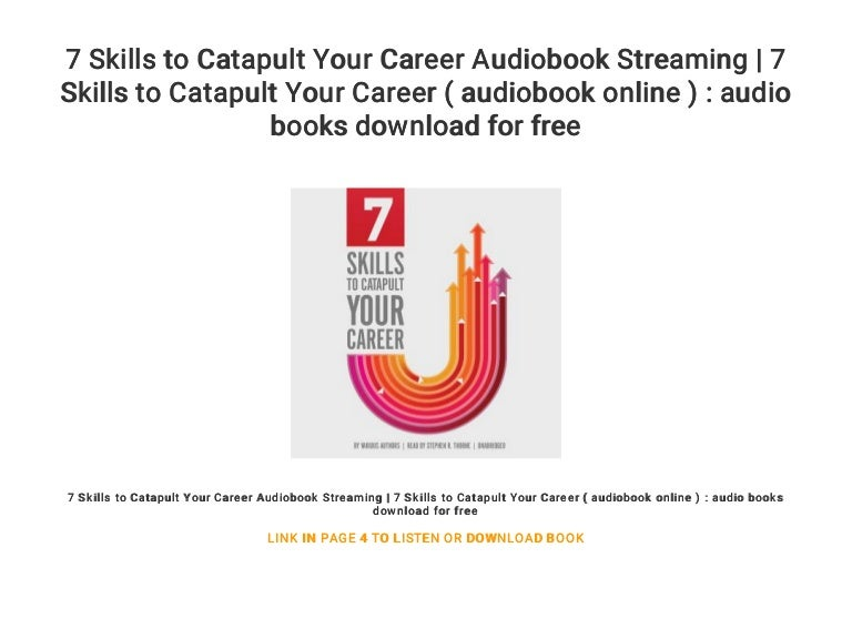 7 Skills To Catapult Your Career Audiobook Streaming 7 Skills To Ca