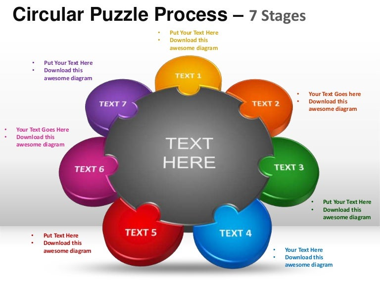 7 stages circular puzzle process powerpoint templates. Black Bedroom Furniture Sets. Home Design Ideas