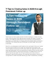 7 Tips to Closing Sales in B2B through Persistent Follow up