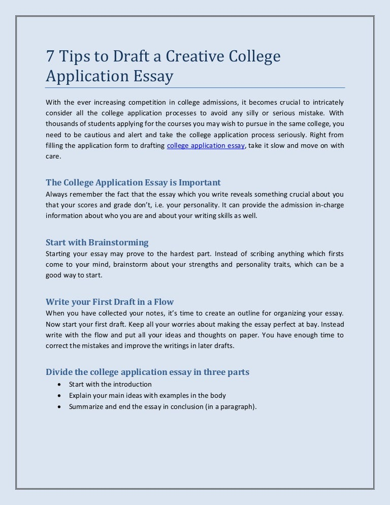 Application essay writing for college