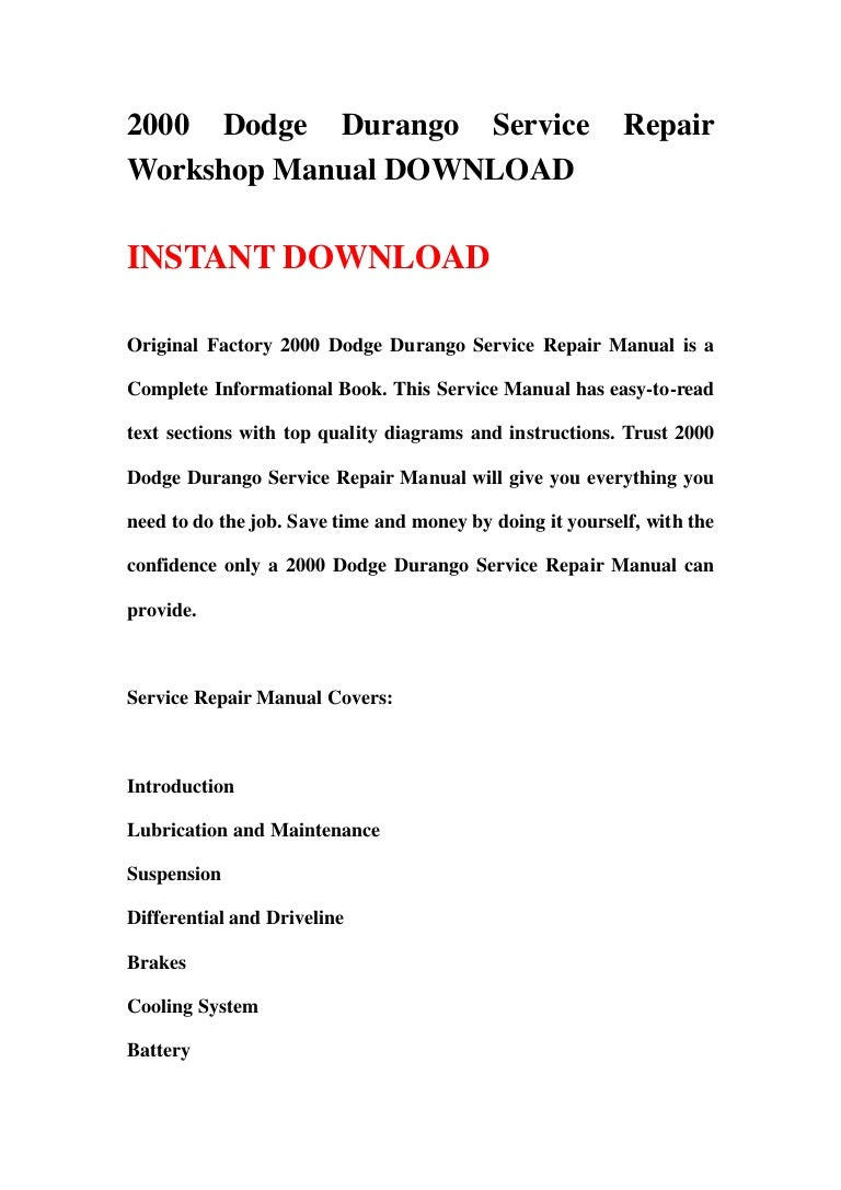 2000 dodge durango service repair workshop manual download rh slideshare net 2002 dodge durango service manual pdf 2002 dodge durango manual free