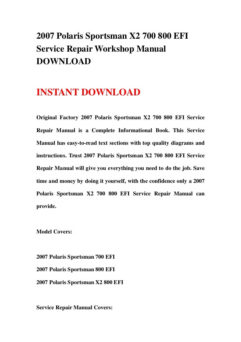 polaris atv sportsman x2 800 efi 2007 factory service repair manual download pdf