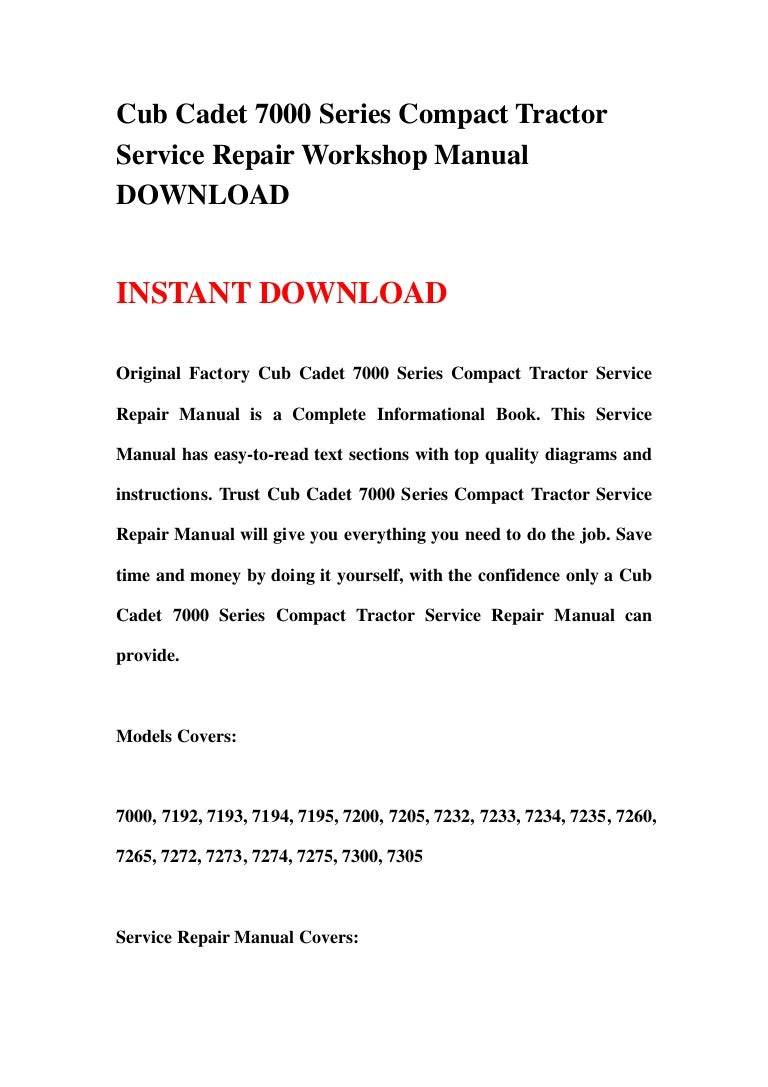 7260 Cub Cadet Wiring Diagram For Tractor Libraries 7264 7272 Schematic Librarycub 7000 Series Compact Service Repair Workshop Manual