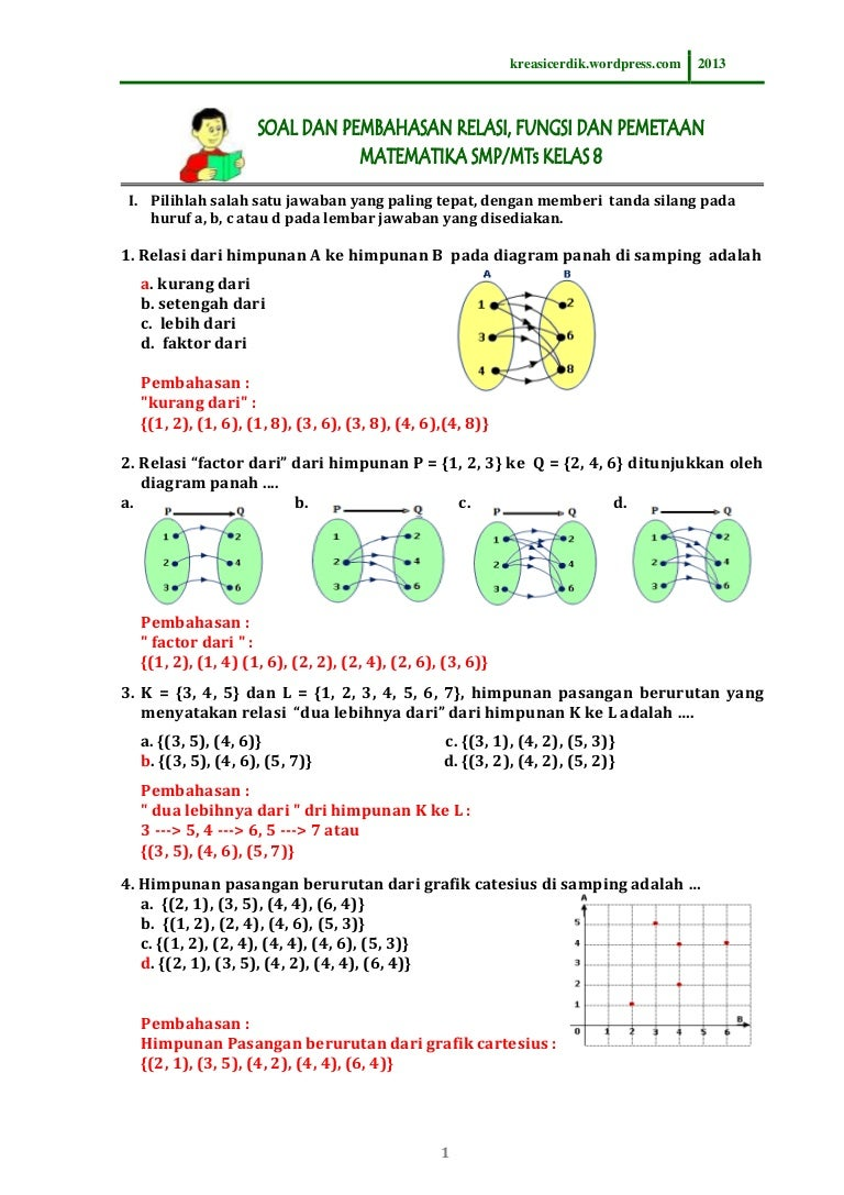831 soal dan pembahasan relasi fungsi matematika sltp kelas 8 831 soal dan pembahasan relasi fungsi matematika sltp kelas 8 ccuart Image collections