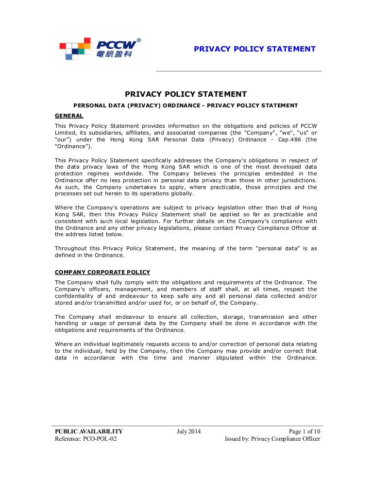 privacy policy statement hong kong