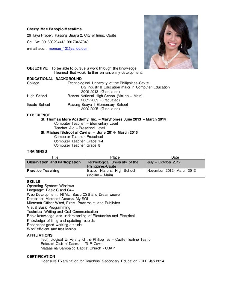 cherry mae macalima resume