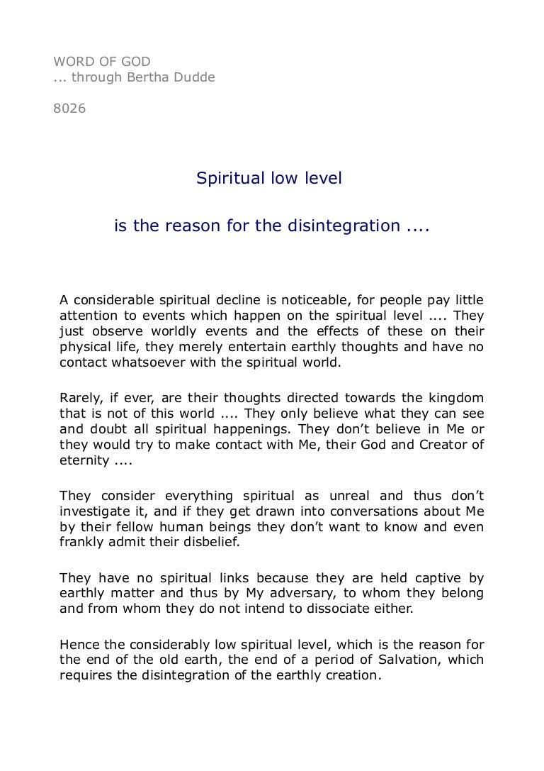 8026 Spiritual low level is the reason for the