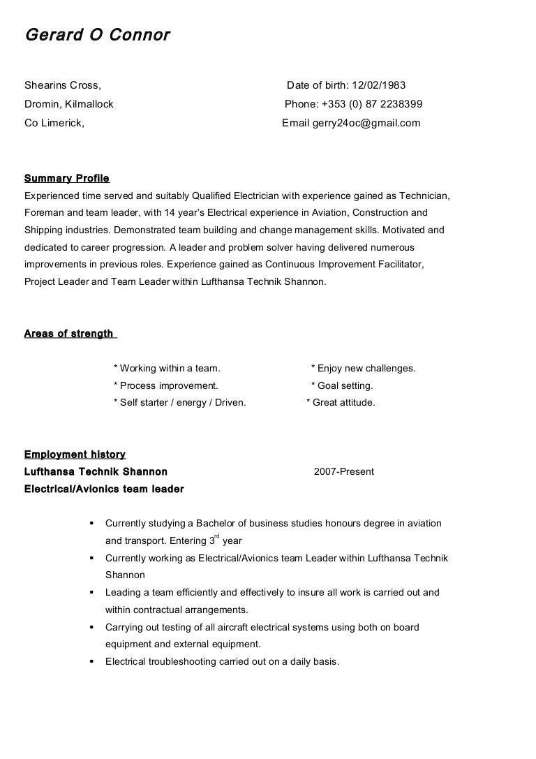 Gerard O Connor Curriculum Vitae Without Cover Letter