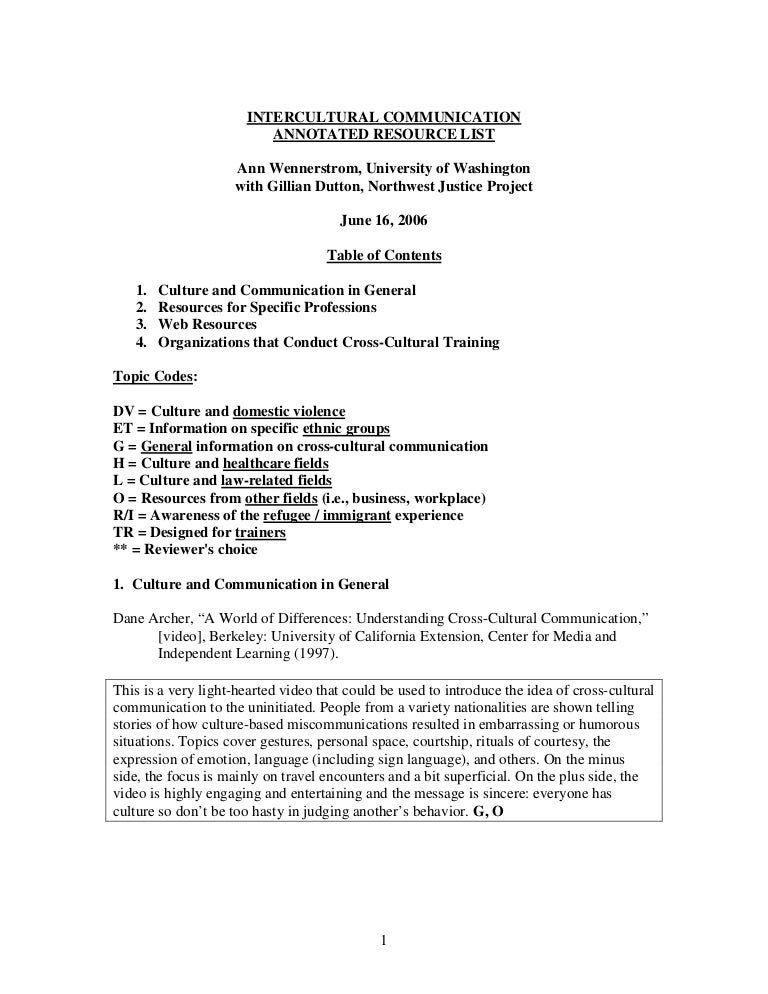intercultural communication annotated resource list