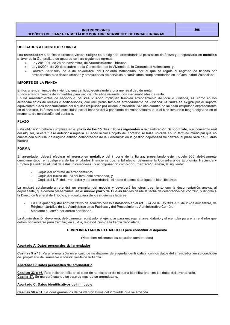 806 instrucciones depósito fianza arrendamientos