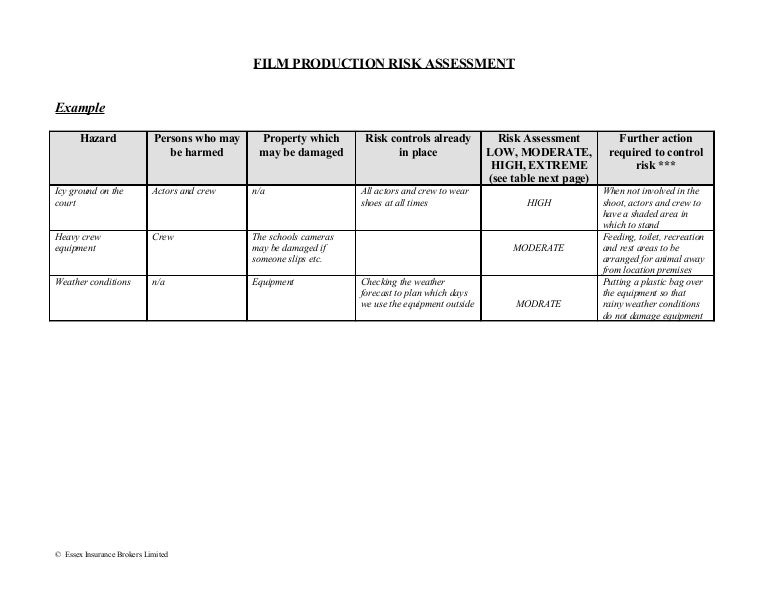 FilmProductionRiskAssessmentForm