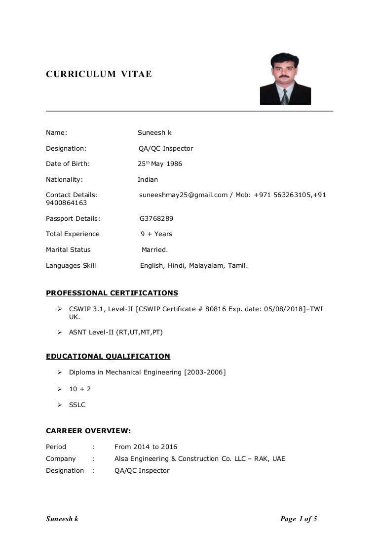 suneesh qaqc inspector cv