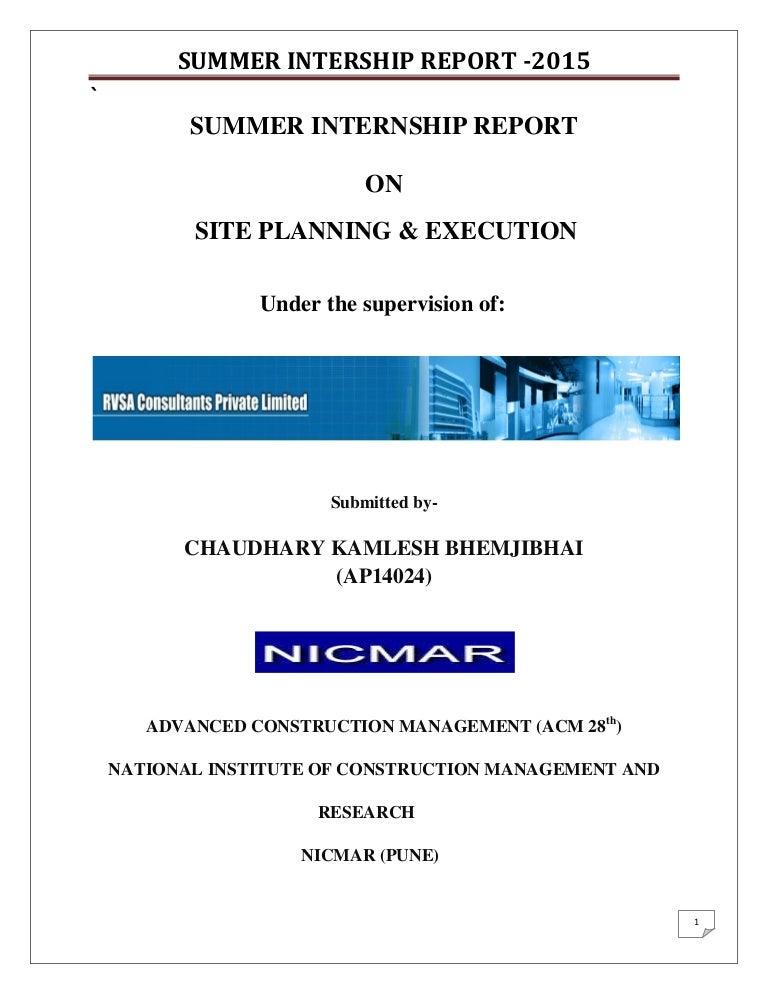 FINAL Summer Internship REPORT NICMAR