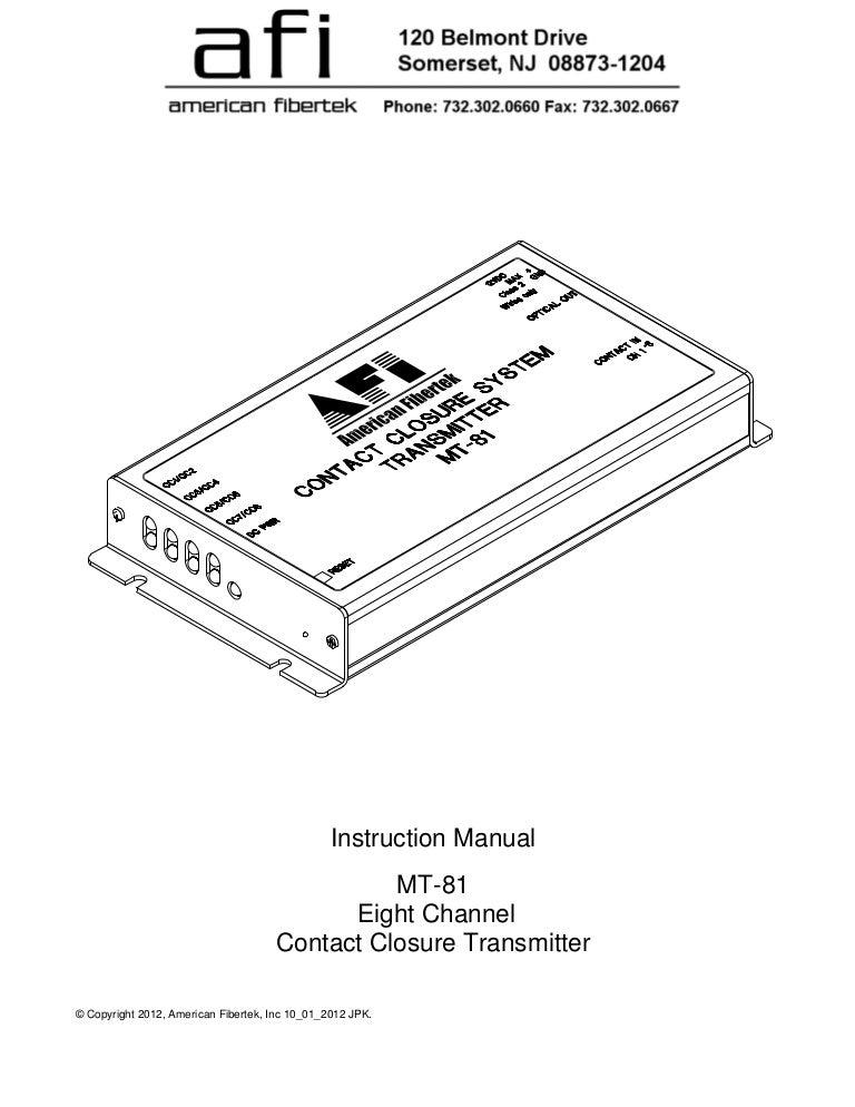 American Fibertek MT-81-280 User Manual