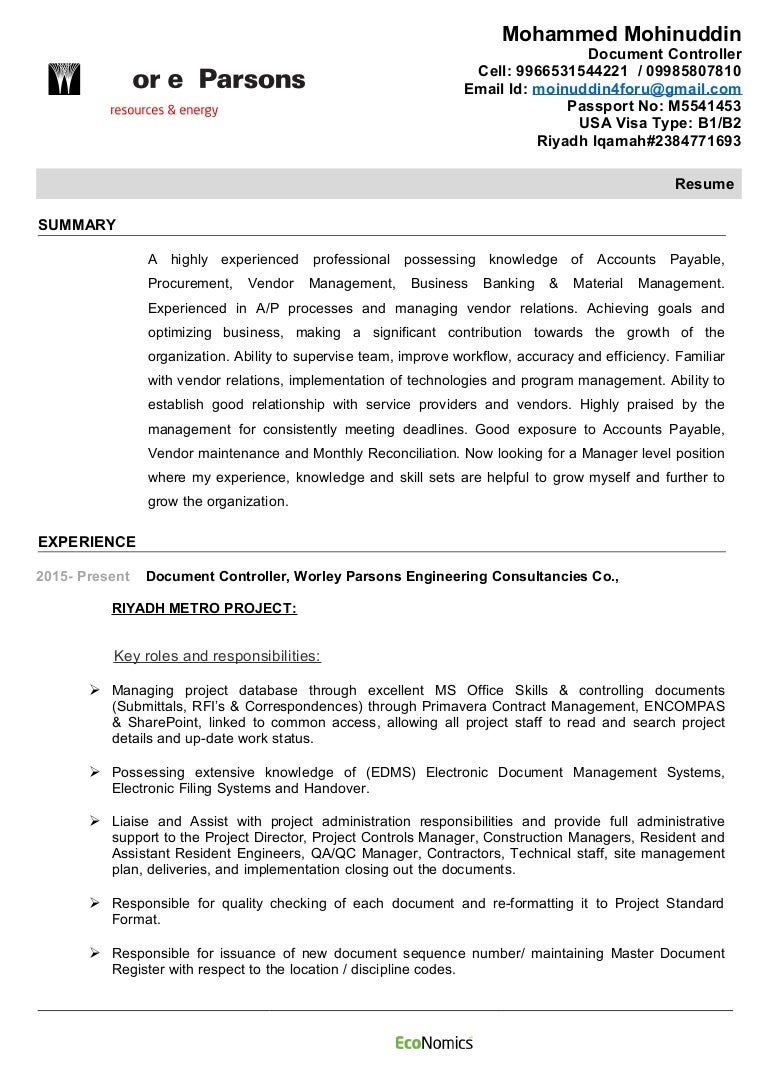 mohammad mohiuddin worleyparsons cv