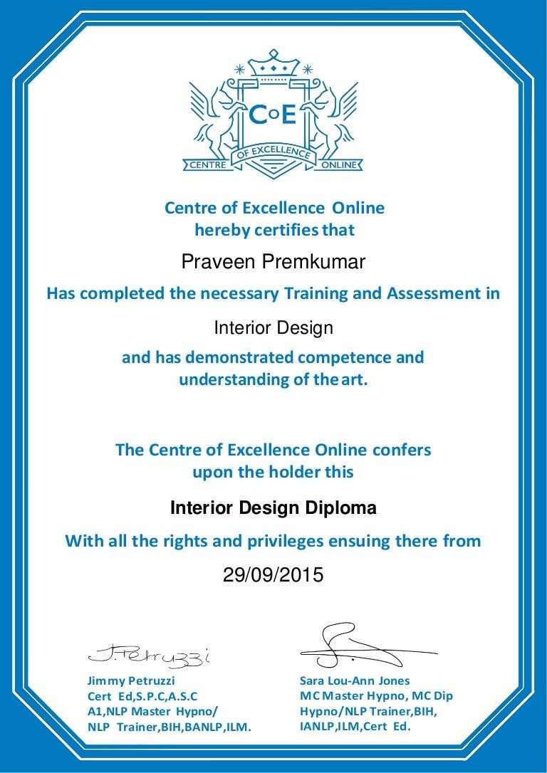 Praveen Premkumar Interior Designer Certificates 29092015