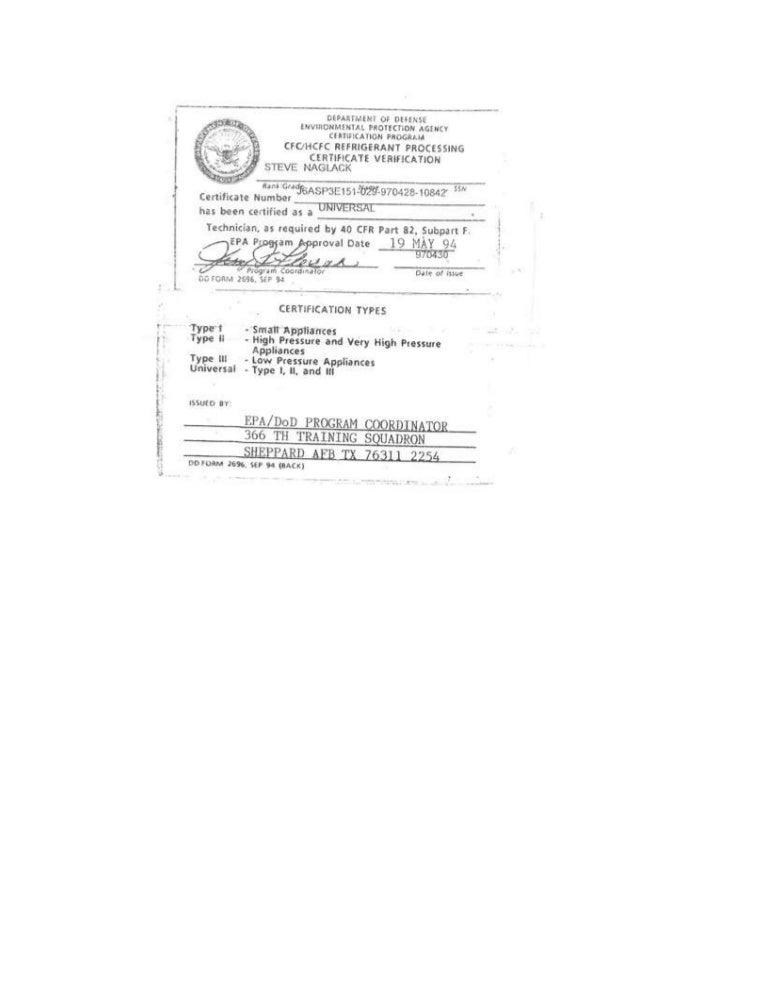 Epa Cfc Hcfc Universal Certification
