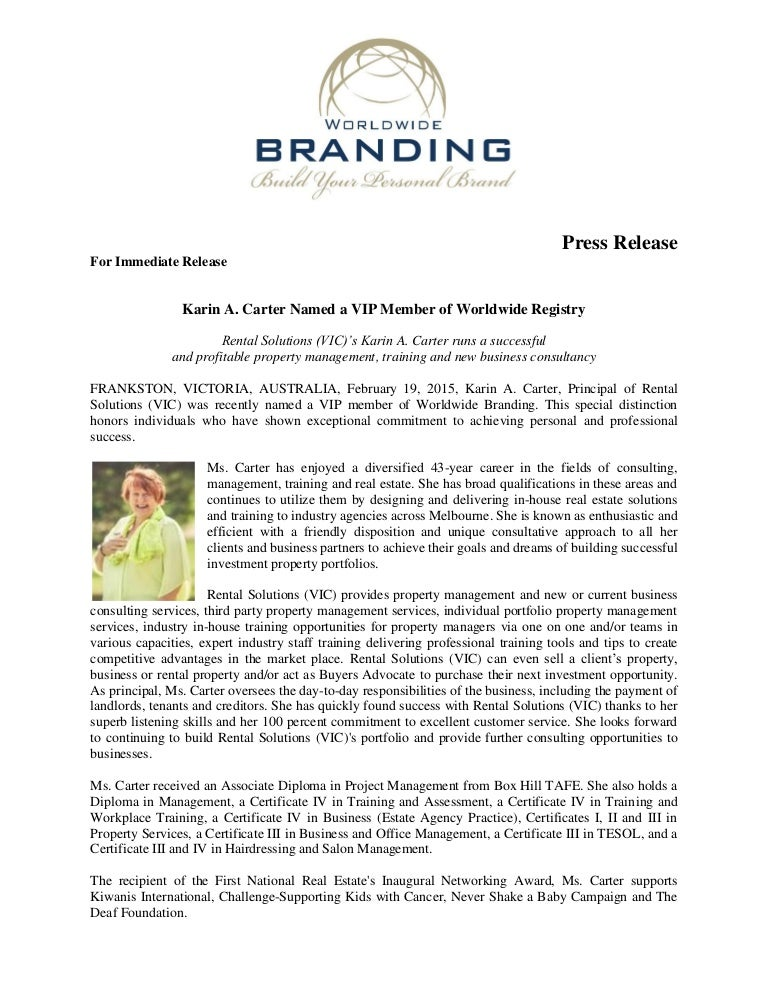 Carter Karin World Wide Branding Press Release 20 2 15
