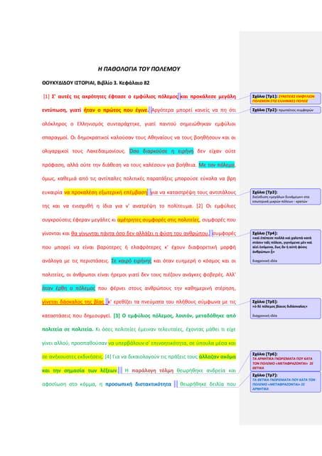 Η Παθολογία του Πολέμου, Θουκυδίδη Ιστορίες, Βιβλίο3ο, κεφ. 82 83