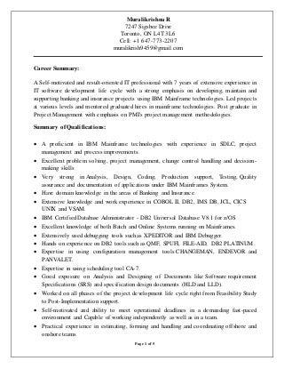 mainframe developer resume - Mainframe Resumes
