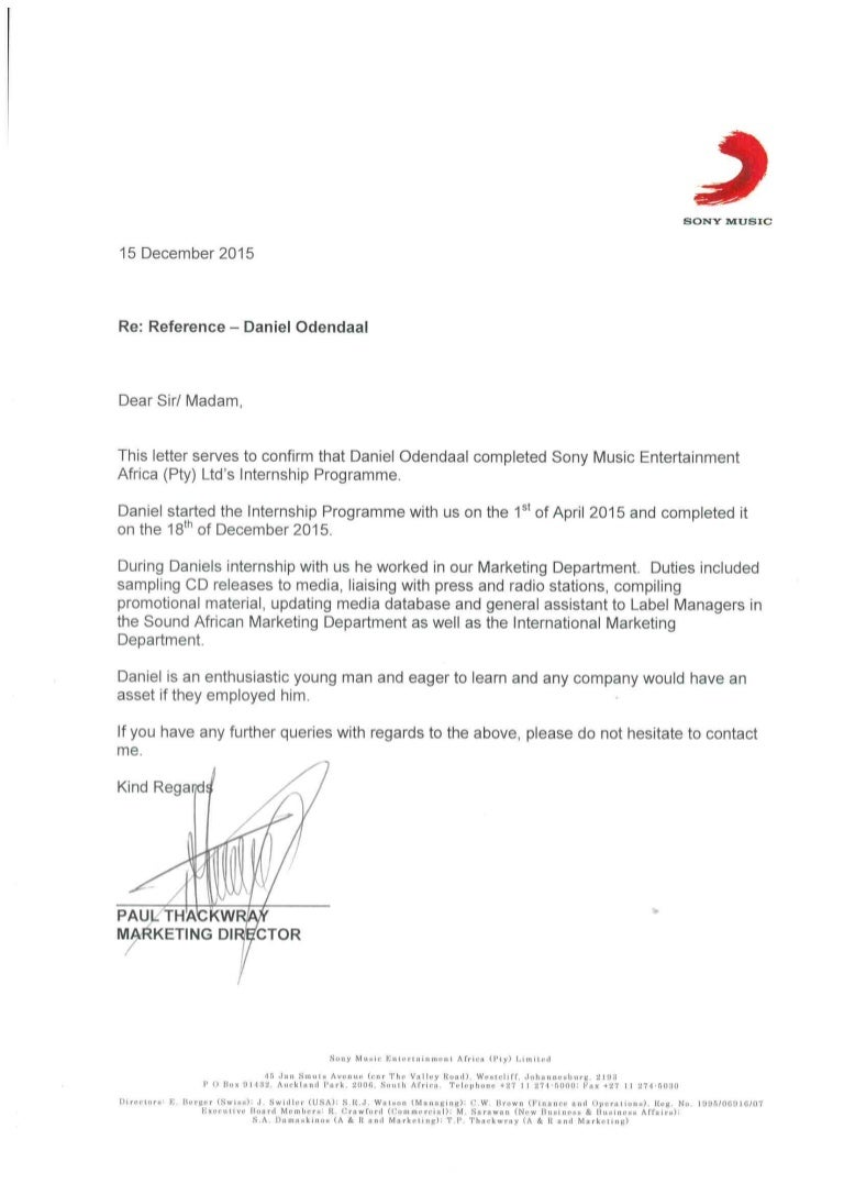 reference letter from marketing manager