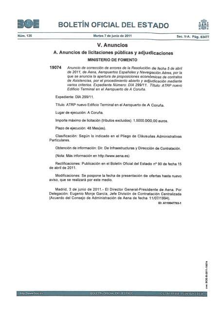 07-06-11 BOE aplazamiento proyecto terminal de Alvedro
