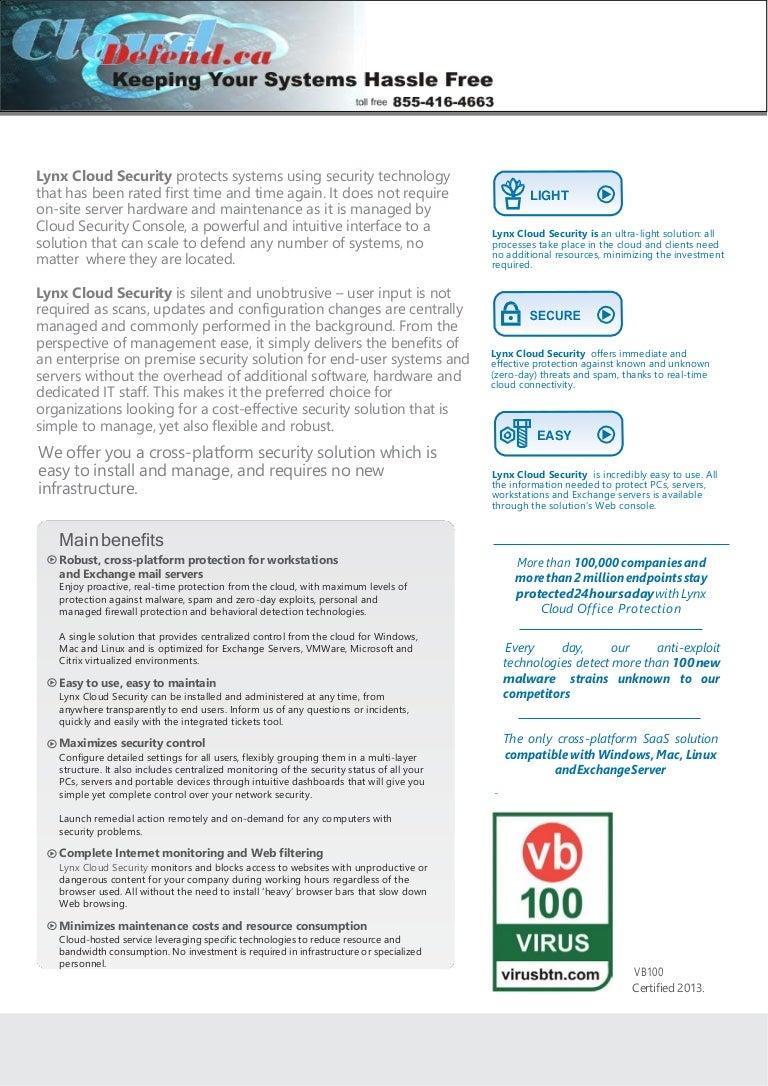Lynx Cloud Security brochure 2015