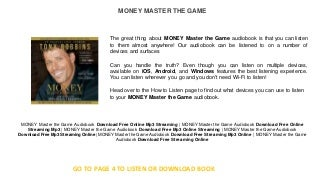 MONEY Master the Game ( free books online ) : great free audio books