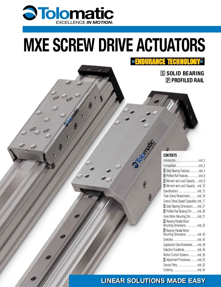 Electric Linear Screw Actuators: MXE