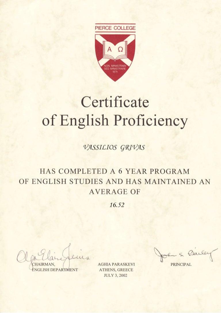 college certificate proficiency pierce greece proxima