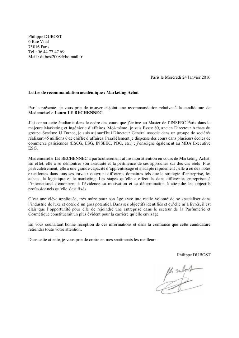 LETTRE DE RECOMMANDATION ACADEMIQUE   P. DUBOST