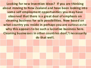 Invention Ideas - Could A New Zealand Cleaning Business For Sale Become A Scam?