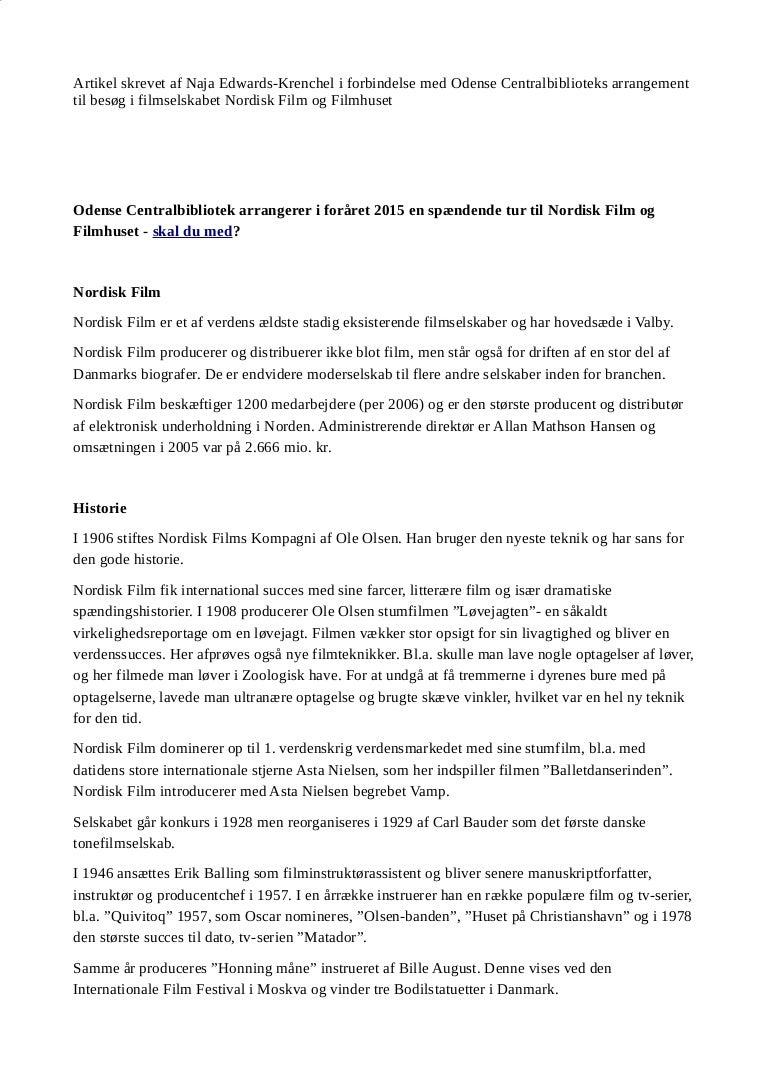 Artikel Til Web Om Filmselskabet Nordisk Films Historie