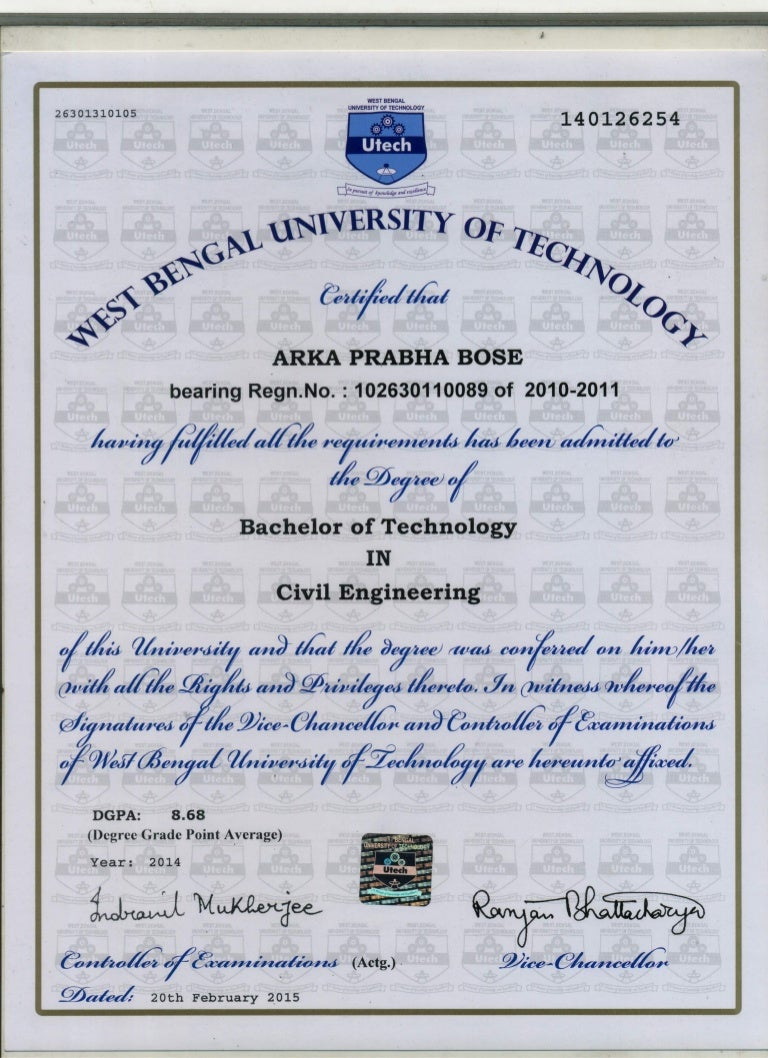 b tech certificate