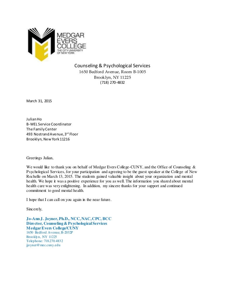 Thank You Letter Cuny Medgar Evers College