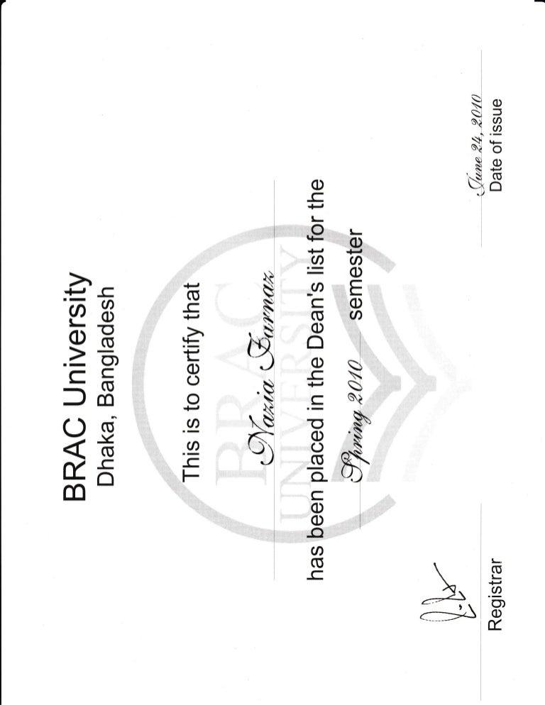 BRAC University-Dean Certificate 2_For excellent result